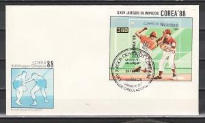 Nicaragua, Scott cat. 1692. Baseball on Olympics. s/sheet on a First day cover.