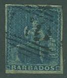 Barbados SC#6 Britannia, (1d) blue, Imperf, Used four margins