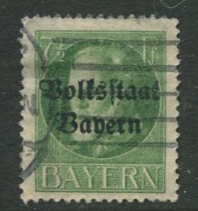 Bavaria -Scott 138 - King Ludwig III - Overprint - 1919 - FU - 7.1/2pf Stamp