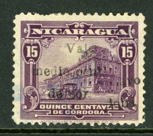 Nicaragua 1918 Cathedral Provisonal ½¢/15¢ Scott 368 Variety VFU M473