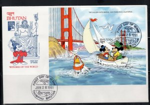 1991 BHUTAN FDI FDC FIRST DAY COVER DISNEY  STAMPS    LOT 7651