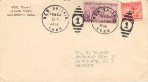 United States Connecticut New Britain 1938 numeral duplex  2c Winter Olympics...