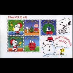 GIBRALTAR 2001 - Scott# 894a S/S Xmas-Snoopy NH