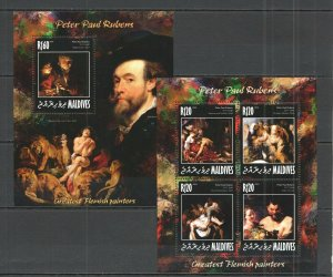 ML669 2014 MALDIVES ART PAINTINGS GREAT PAINTERS PETER PAUL RUBENS KB+BL MNH