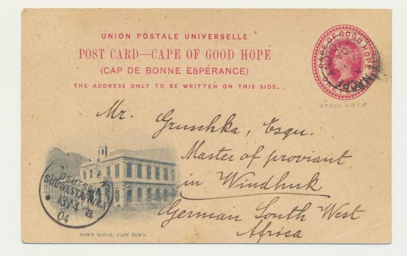 CAPE OF GOOD HOPE -GERMAN SOUTH WEST AFRICA 1904, STEINKOPF TO WINDHOEK, 1d CARD