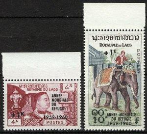 Laos 1960, World Refugee Year set VF MNH, Mi 103-104