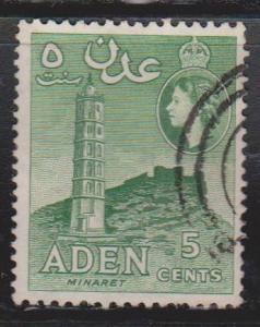 ADEN Scott # 48b Used - QEII & Minaret - Bluish Green