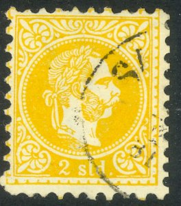 AUSTRIAN OFFICES IN TURKEY 1867 2s Yellow Coarse Whiskers w WMK Sc 1a VFU