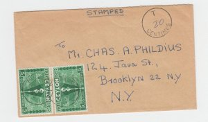CEYLON -USA 1952 SHORT PAID COVER, HUNUMULLA CDS (SCARCE) T20c H/S (SEE BELOW)