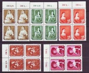 J22493 Jlstamps 1959 germany ddr set blk,s/4 mnh #439-43 painting types