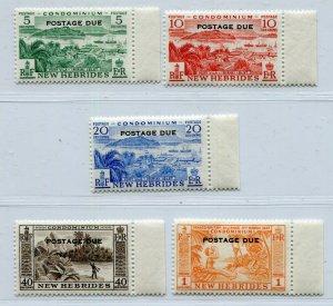 NEW HEBRIDES CONDOMINUM 1957 EII POSTAGE DUE SET SCOTT J16-J20 PERFECT MNH