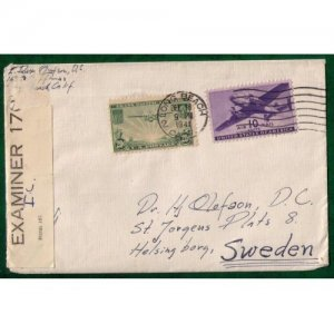 1941 Scott C21,C27 Air Mail Cover Long Beach,Calif To Sweden Very Fine
