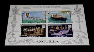 ANGUILLA #300a, 1977, SILVER JUBILEE, SOUVENIR SHEET, MNH, NICE LQQK