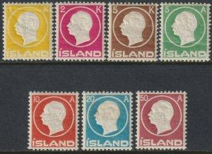 Sc# 92 / 98 Iceland 1912 Frederik VIII embossed complete MLH set CV $334.50
