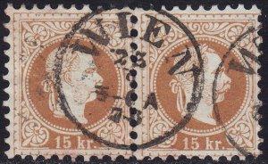 Austria - 1877 - Scott #38 - used pair - Franz Josef