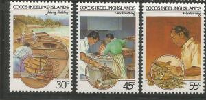 COCOS ISLANDS, 126-128, MNH, CRAFTS