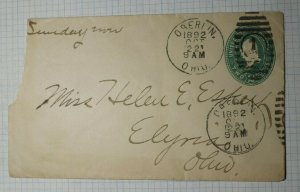 US Sc# U311 Used Entire 1892 Oberlin OH to Elxria