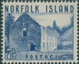 Norfolk Island 1953 SG15 7½d blue Governor's Residence MNH