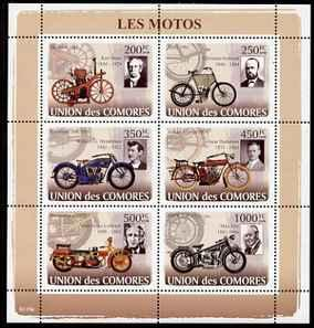 Comoro Island MNH S/S Early Motorcycles 2008 6 Stamps
