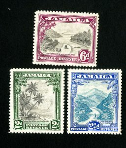 Jamaica Stamps # 106-8 VF OG Scott Value $84.25