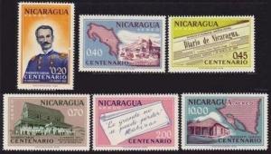 Nicaragua C487-C492,MNH.Michel 1296-1301. Rigoberto Cabezas-100,1961.Map