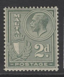 MALTA SG161 1927 2d GREENISH GREY MTD MINT