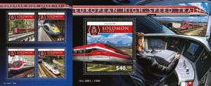 Z08 SLM15509ab SOLOMON ISLANDS 2015 Trains MNH Set