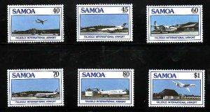 Samoa-Sc#711-16- id7-unused NH set-Planes-Airport-1988-