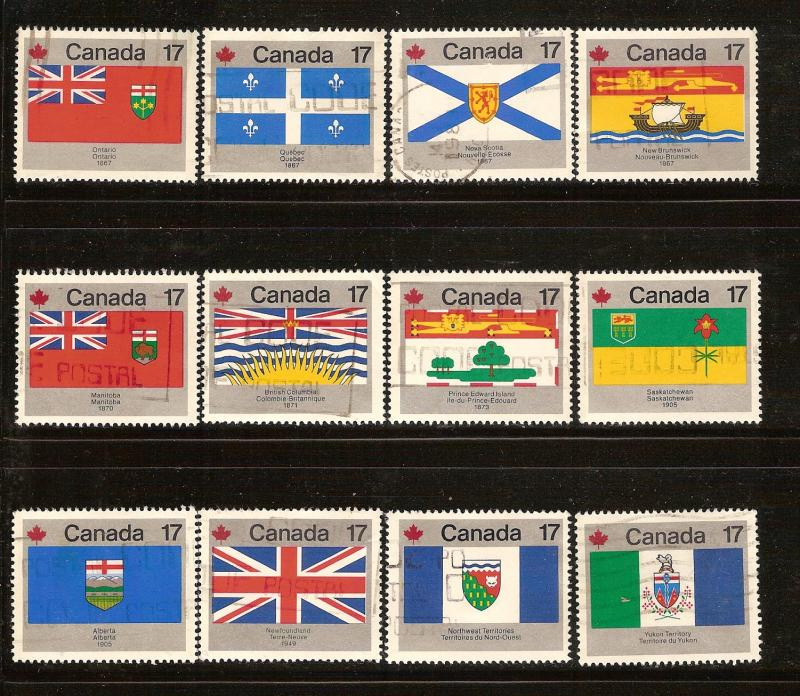 CANADA SET PROV.&TERRITORIAL FLAGS   (12) USED STAMPS  LOT#42