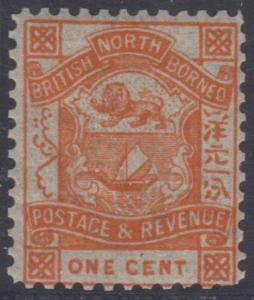 BC NORTH BORNEO 1887-92 Sc 36 WELL PERFORMED FORGERY, PERF 11 1/2 MNH F,VF