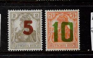 POLAND  1919 GERMAN OVPT PROVISONAL  ISSUE SET 2 MLH SIGNED  Sc 77/78