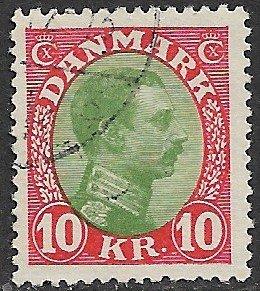 DENMARK 1913-28 10kr Christian X Portrait Issue Sc 131 VFU