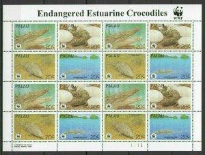 AB1043 1994 PALAU WWF FAUNA REPTILES ENDANGERED ESTUARINE CROCODILES 1SH FIX