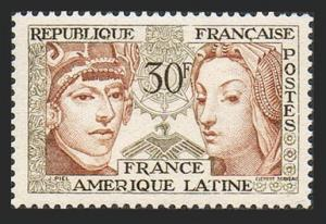 France 795, MNH. Symbols of Latin American and French Culture, 1956