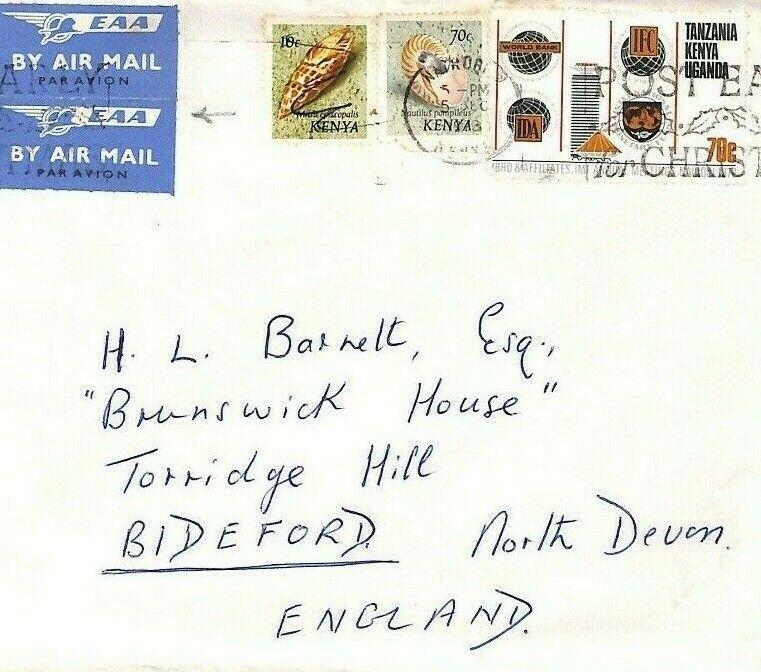 CE183 KENYA Sea Shells 1973 KUT IDA Stamp MIXED FRANKING *EAA* Air Mail Bideford