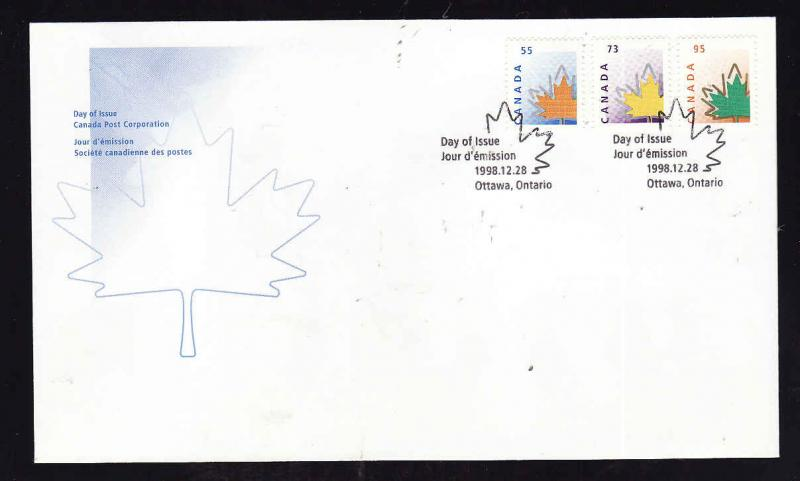 Canada-Sc#1684-6-stamps on FDC-Stylized Maple Leaf-1988-