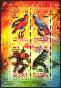 Congo 2013 Birds (3) Parrots MNH Cinderella !