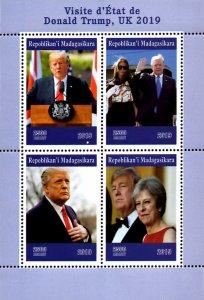 Madagascar 2019 Donald Trump Melania, Theresa May UK Visit 4v MNH (#048)