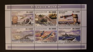 Aviation - Planes/Ships WWII - Sao Tome and Principe 2008. ** MNH sheet