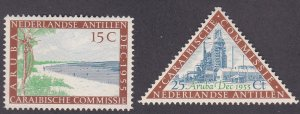 Netherlands Antilles # 233-234, Beach & Petroleum Refinery, Hinged, 1/3 Cat.