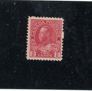 CANADA (KSG601) # 106ix FVF-MH 2cts KGV ADMIRAL /DP ROSE RED /HAIRLINES  CAT $90