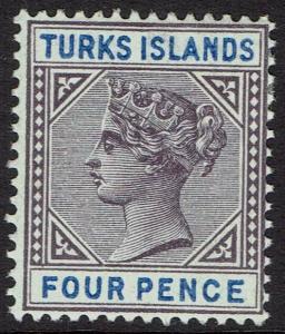 TURKS ISLANDS 1893 QV 4D KEY TYPE