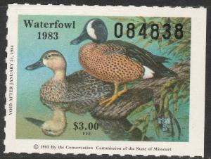 U.S.-MISSOURI 5, STATE DUCK HUNTING PERMIT STAMP. MINT, NH. VF