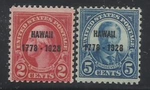 647-648 - 2c, 5c Hawaii Overprints MNH F/VF