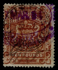 RHODESIA SG13, £10 brown, USED.