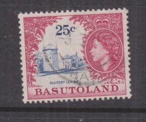 BASUTOLAND, 1962 QE 25c. Deep Ultramarine & Crimson, used.
