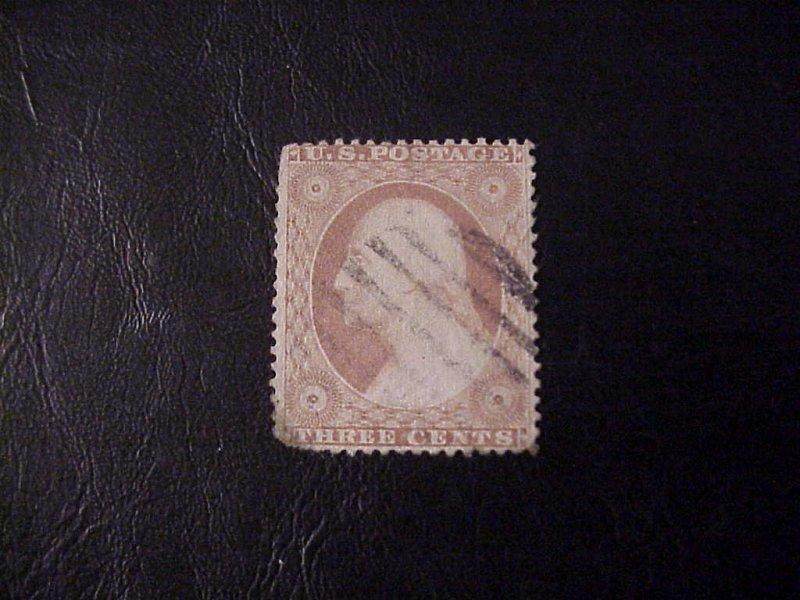 1857 THREE CENT WASHINGTON USED /NO GUM SCOTT 26
