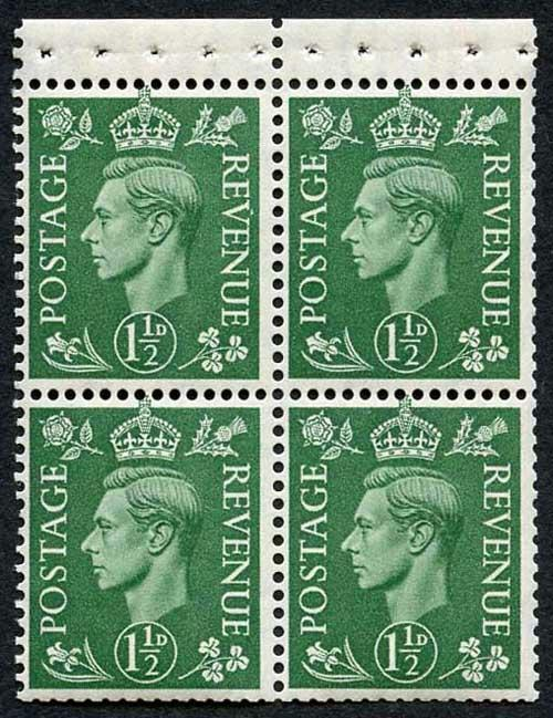 SG505c KGVI 1 1/2d Pale Green Wmk Upright Pane of 4 U/M