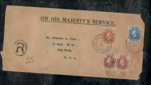 CAYMAN ISLANDS COVER (PP0301B) 1930 KGV  1/4DX2+1 1/2D+2 1/2D REG COVER TO USA