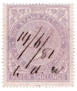 (I.B) Cape of Good Hope Revenue : Stamp Duty 7/- (1865)